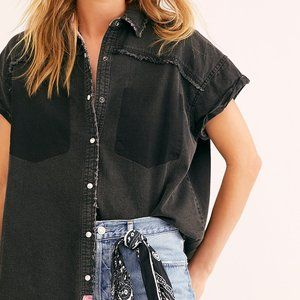 Free People We The Free Washed Black Meadowlark Buttondown